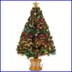 4′ Fiber Optic Fireworks Green Artificial Christmas Tree with Multicolored Light