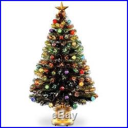 4' Fiber Optic Fireworks Green Artificial Christmas Tree with Multicolored Light