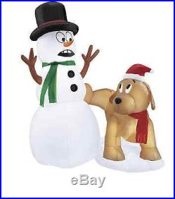 4' Foot Snowman & Dog Self Inflating Blow Up LED Christmas Yard Decoration
