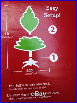 4 Ft Pre-Lit Red Christmas Tree with Clear Lights Artificial Christmas Tree