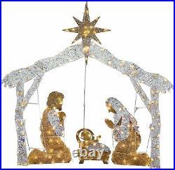 4′ Lighted Christmas Nativity Scene Outdoor Decor With Led Lights Xmas Crystal