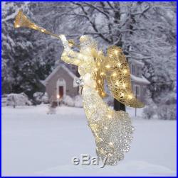 4′ Outdoor Angel Christmas Decoration LED Lighted Display Trumpet X-mas Decor