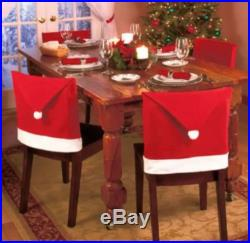 4 PC SANTA CLAUS RED HAT CHAIR BACK COVERS XMAS CHRISTMAS DINNER TABLE DECOR