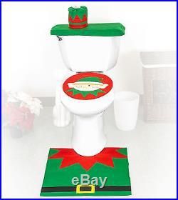 4 Pcs Christmas Santa Bathroom Toilet Seat Cover and Rug Set Elf