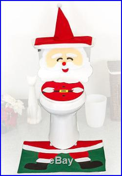 4 Pcs Christmas Santa Bathroom Toilet Seat Cover and Rug Set Santa