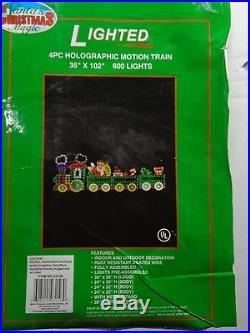 4 Piece Holographic Lighted Motion Train Set Christmas