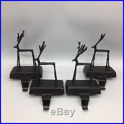 4 Pottery Barn Twig Reindeer Stocking Holder Set Bronze Christmas Deer AS-IS
