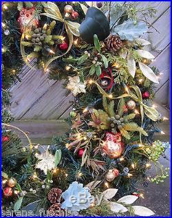 4 Pre Lit Artificial Douglas Fir Pine Christmas Wreath 300 GE Lights NEW