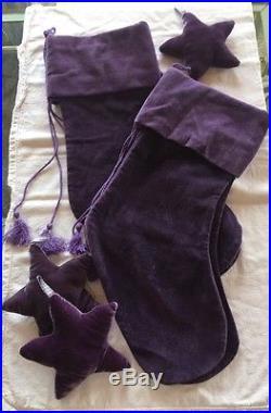 4 Purple Velvet Pottery Barn Stockings Plus 3 Purple Velvet Stars