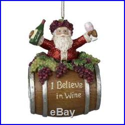 4 Santa on Wine Barrel Hanging Christmas Holiday Tree Ornament Decoration