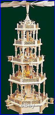 4 Tier Musical Silent Night Nativity Natural German Wood Christmas Pyramid