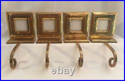 4 Vintage Brass Stocking Hangers Picture Frames Christmas