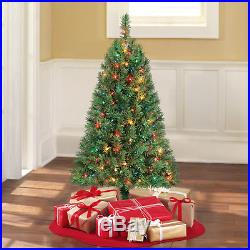 4 ft Artificial Christmas Tree Pre-Lit 150 Multi Lights Xmas Holiday Decoration