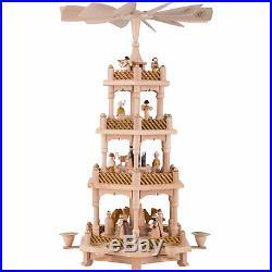 4-stöckige Pyramide Christi Geburt Handarbeit Erzgebirge Weihnachtspyramide
