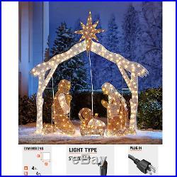 4ft Nativity Scene Set Holy Family Display Outdoor Christmas Yard Decoration
