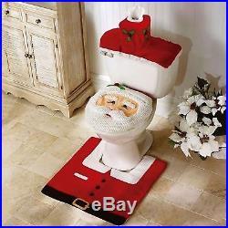 4pc Christmas Festive Santa Toilet Seat Cover Set Bathroom Set Xmas Decoration
