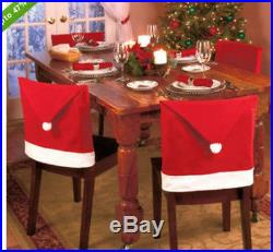 4pcs Santa Red Hat Chair Covers Christmas Decorations Dinner Chair Xmas Cap Sets