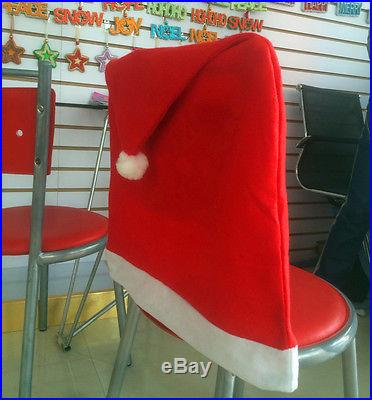 4pcs Santa Red Hat Chair Covers Christmas Decorations Dinner Chair Xmas Cap Sets Christmas Decor World