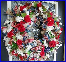 4th of July Deco Mesh Front Door Wreath, Americana Patriotic Rustic Home Decor