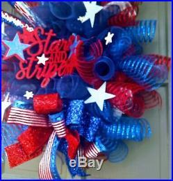 4th of July Patriotic Deco Mesh Wreath Garland & Topiary Door Decor Buy 1 or Set