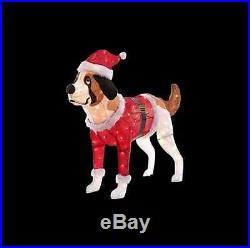 50 Lighted Tinsel Dog with Red Santa Coat and Hat Christmas Holiday Decor New