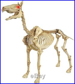 52 In. Standing Skeleton Horse Pony LED Eyes Halloween Sound Effects Yard Decor