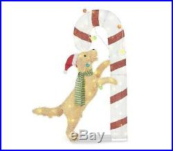 54 Lighted Puppy Dog Candy Cane Sculpture Outdoor Christmas Yard Decor Art