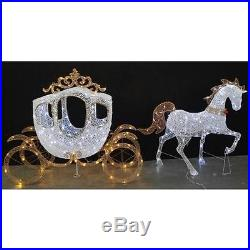 58 in. LED Warm White Carriage and 43 in. White Horse Christmas Decorations