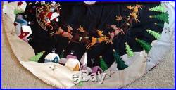 59.5 60 Hand made Wool CHRISTMAS TREE SKIRT SANTA SLEIGH REINDEER Scene