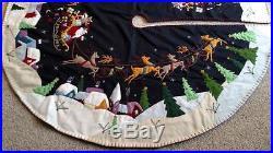 59.5 Hand made Wool SANTA SLEIGH REINDEER Scene CHRISTMAS TREE SKIRT
