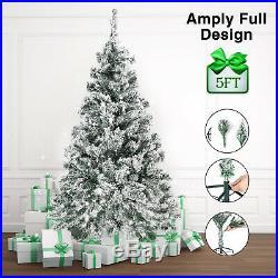 5FT Christmas Tree Full Green Snow Flocked Fake Xmas Tree Holiday Season withStand