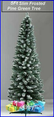 5Ft Frosted Pencil Pine Slim Christmas Tree Artificial Green Fabulous Xmax Tree
