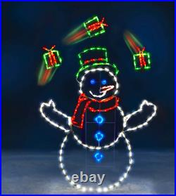 5′ ANIMATED JUGGLING Gifts Snowman LED Commercial Quality Christmas Yard Show