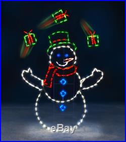 5′ Animated LED Lighted JUGGLING SNOWMAN GIFTS OUTDOOR CHRISTMAS Decor PRE-LIT