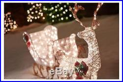 5′ Lighted White Reindeer with Sleigh Outdoor Christmas Decor 350 Mini Lights
