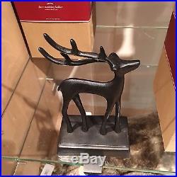 5 New Pottery Barn SANTA'S SLEIGH DEER Reindeer STOCKING HOLDER SET 5 Christmas