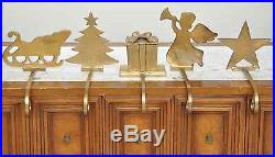 5 Solid brass Christmas Tree Star Angel & Sleigh Stocking Hangers Vintage Heavy