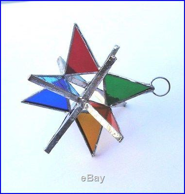 5 Stained Glass Moravian Style 3 Dimensional MULTI COLOR Handmade! Gorgeous