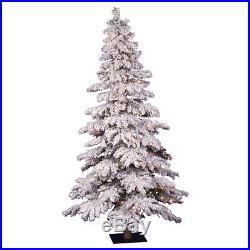 5 ft. Flocked Spruce Alpine Medium Pre-lit Christmas Tree, White, 5 ft