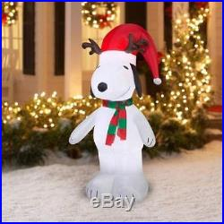 5 ft Outdoor Inflatable Snoopy Peanuts Santa Holiday Yard Lawn Christmas Decor