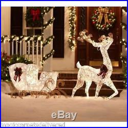 5 ft. Pre-Lit White Reindeer and Sleigh Christmas Holiday Outdoor Yard Decor