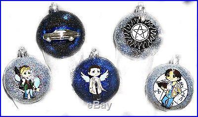 5 pack Supernatural Inspired Christmas Ornaments