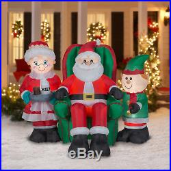 5ft Gemmy Christmas Airblown Inflatable North Pole Santa & Friends Mrs Claus Elf