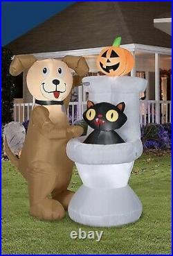 5ft Gemmy Halloween Dog & Black Cat In Toilet Led Lighted Airblown Inflatable