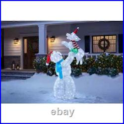 5ft LED Snowman Pup Sculpture Indoor Outdoor Christmas Holiday Yard Decoration