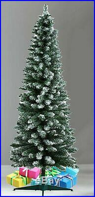 5ft Pencil Slim Frosted Pine Green Frosted Snow Tips Artificial Tree With Stand