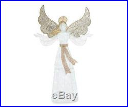 5ft White Gold Lighted Angel Sculpture Pre Lit Outdoor Christmas Yard Decor