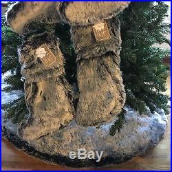 5pc Luxury Faux Fur Christmas Tree Skirt 4 Stocking Set Nicole Miller Blue Frost