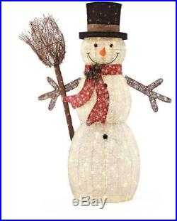 60 Cotton String Snowman w Broom 175 LED Lights Indoor Outdoor Christmas Decor