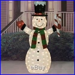 60 Outdoor Lighted Snowman Christmas Decor Sculpture Top Hat Holiday Yard Decor